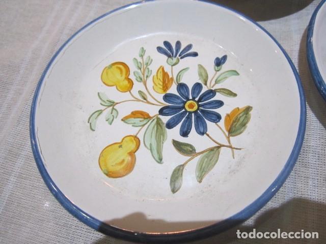 Antigüedades: 3 Platitos en cerámica de Alcora. 13 cms. diámetro. - Foto 2 - 73767799