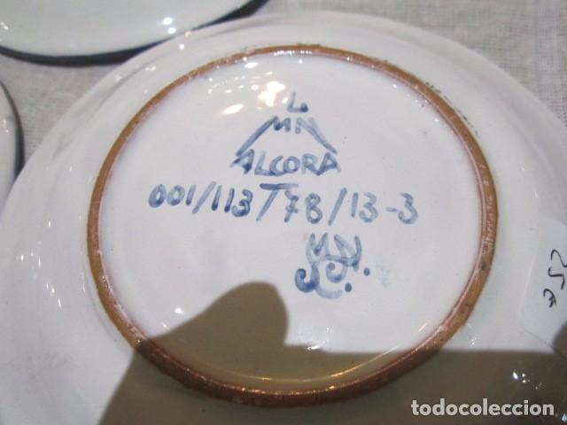 Antigüedades: 3 Platitos en cerámica de Alcora. 13 cms. diámetro. - Foto 5 - 73767799