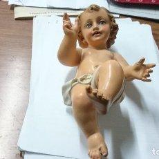 Antigüedades: NIÑO JESUS PARA CUNA. OJOS DE CRISTAL.. 26 CM. DE LARGO. Lote 42386710