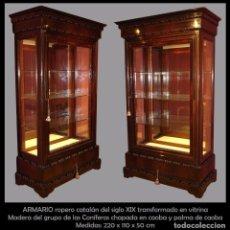 Antigüedades: ARMARIO ROPERO CATALAN DEL SIGLO XIX TRANSFORMADO A VITRINA. Lote 73805851