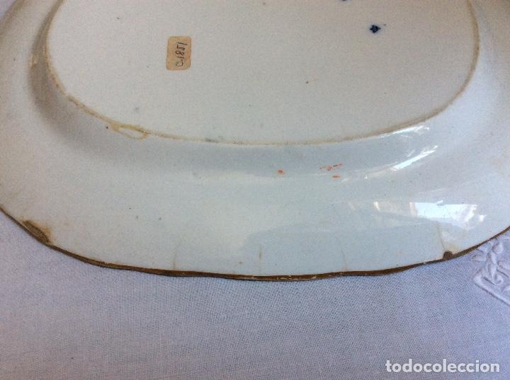 Antigüedades: ANTIGUA FUENTE DE PORCELANA INGLESA - MARCA : P.B.&H. - AZUL Y MARRÓN - c 1851 - Foto 7 - 73817111