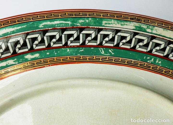 Antigüedades: GRAN FUENTE BANDEJA DE LOZA INGLESA ANTIGUA SIGLO XIX CERÁMICA STOKE ON TRENT FECHADA AÑO 1869 - Foto 4 - 55688765