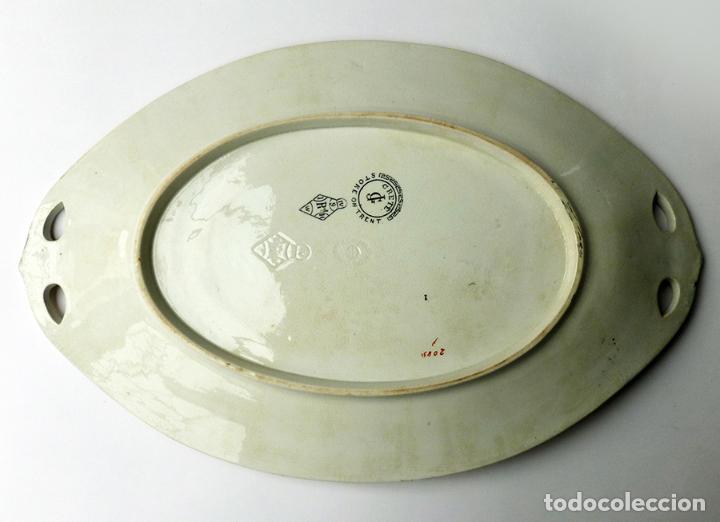 Antigüedades: GRAN FUENTE BANDEJA DE LOZA INGLESA ANTIGUA SIGLO XIX CERÁMICA STOKE ON TRENT FECHADA AÑO 1869 - Foto 5 - 55688765