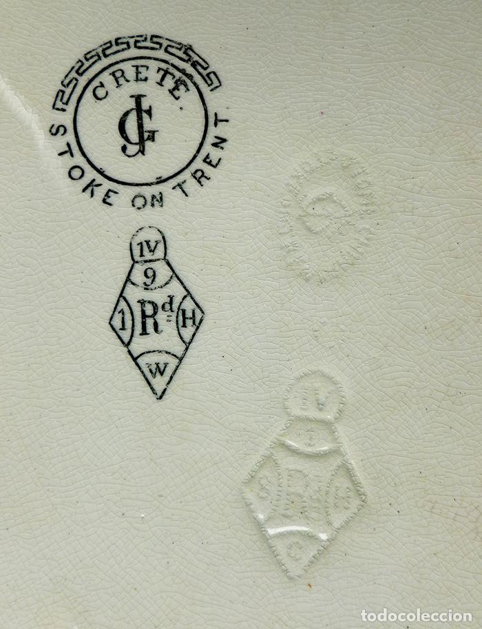 Antigüedades: GRAN FUENTE BANDEJA DE LOZA INGLESA ANTIGUA SIGLO XIX CERÁMICA STOKE ON TRENT FECHADA AÑO 1869 - Foto 7 - 55688765