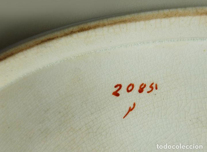 Antigüedades: GRAN FUENTE BANDEJA DE LOZA INGLESA ANTIGUA SIGLO XIX CERÁMICA STOKE ON TRENT FECHADA AÑO 1869 - Foto 8 - 55688765