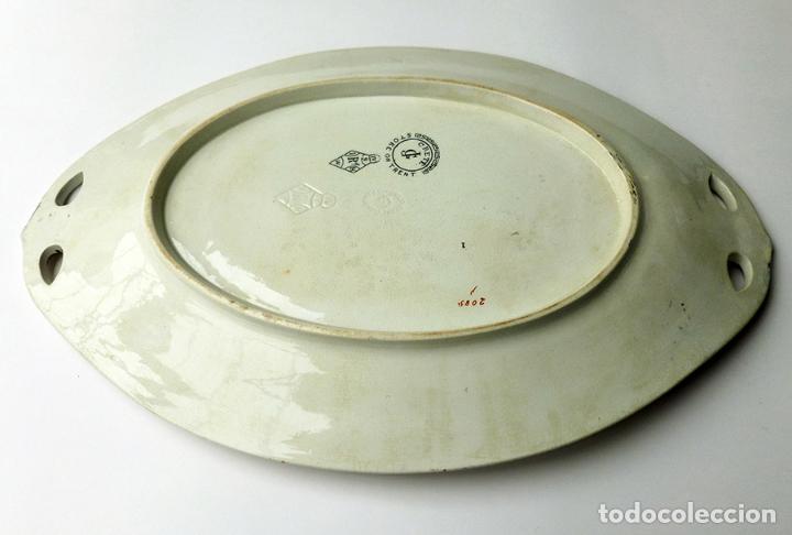 Antigüedades: GRAN FUENTE BANDEJA DE LOZA INGLESA ANTIGUA SIGLO XIX CERÁMICA STOKE ON TRENT FECHADA AÑO 1869 - Foto 9 - 55688765