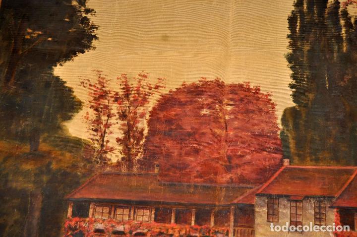 Antigüedades: FIRMADO PUIGDENGOLAS. BONITO TAPIZ PINTADO Y FECHADO DEL AÑO 1917 - Foto 5 - 73993287