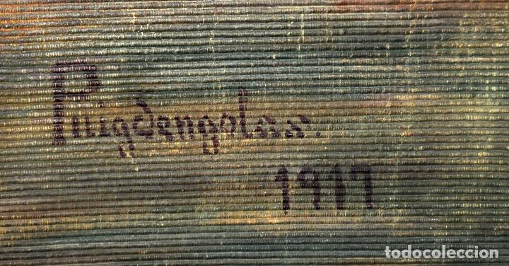 Antigüedades: FIRMADO PUIGDENGOLAS. BONITO TAPIZ PINTADO Y FECHADO DEL AÑO 1917 - Foto 7 - 73993287