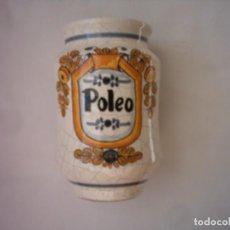 Antigüedades: ALBARELO DE CERÁMICA DE PUENTE DEL ARZOBISPO, PARA POLEO. FIRMADO POR ABAD. 16 X 10 CM. . Lote 73994419