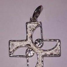 Antigüedades: CRUZ CALADA EN PLATA DE LEY -32X22MM. Lote 74076499
