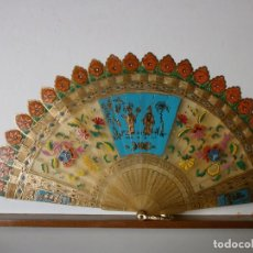 Antigüedades: ABANICO BARAJA, CHINO DE ASTA.. Lote 74229787