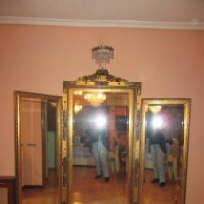 Antigüedades: ESPEJO TRÍPTICO DORADO. Lote 74236183
