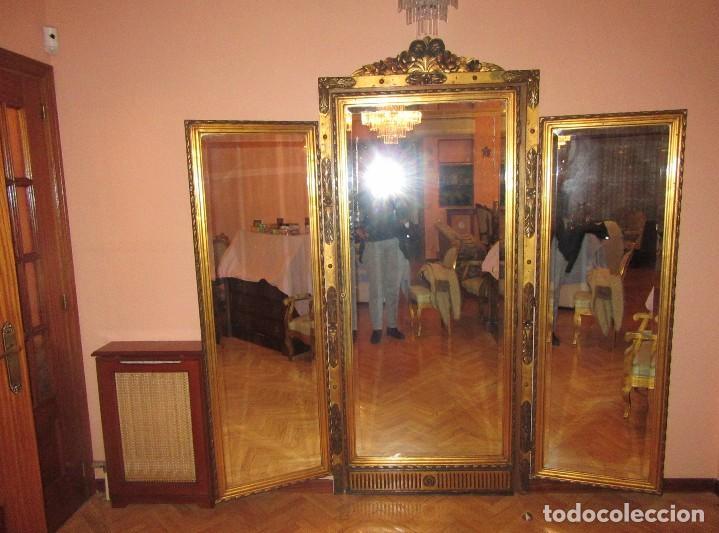 Antigüedades: ESPEJO TRÍPTICO DORADO - Foto 2 - 74236183