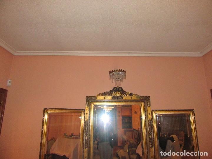 Antigüedades: ESPEJO TRÍPTICO DORADO - Foto 3 - 74236183