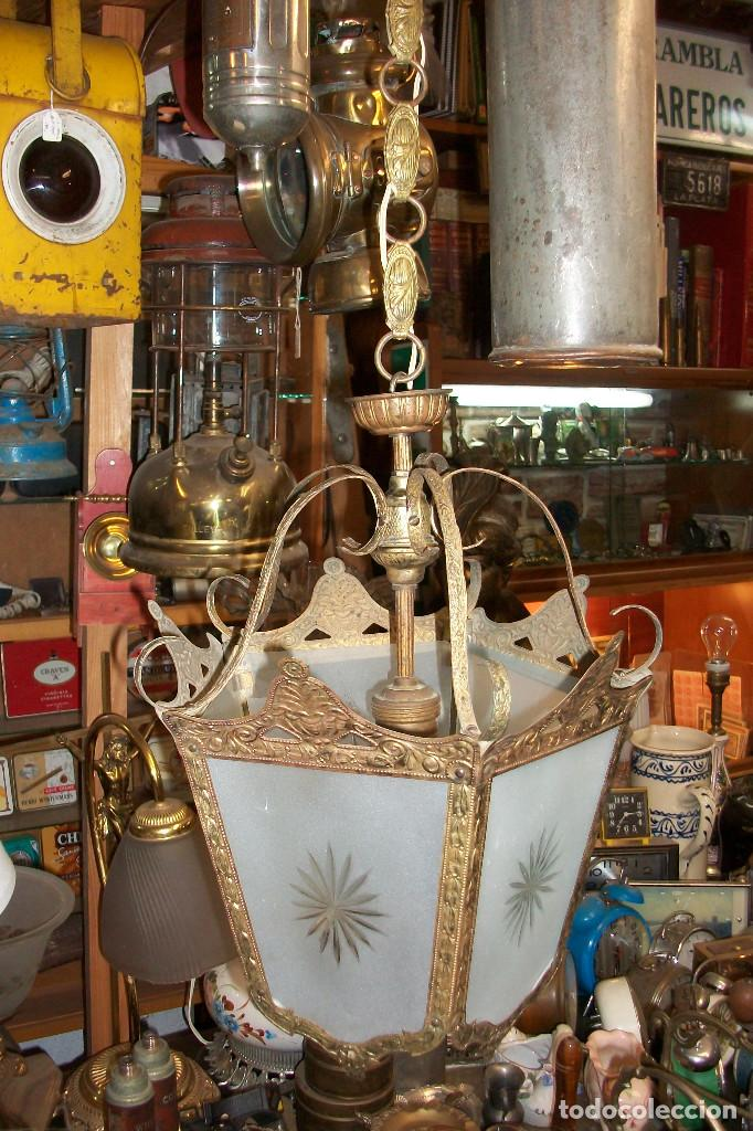 ANTIGUA LAMPARA DE TECHO-BRONCE (Antigüedades - Iluminación - Lámparas Antiguas)