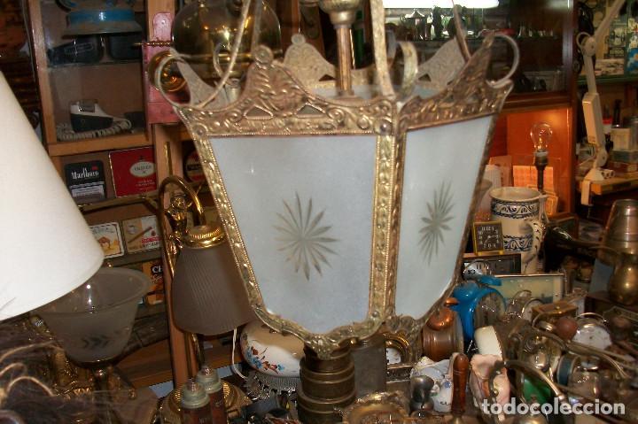 Antigüedades: ANTIGUA LAMPARA DE TECHO-BRONCE - Foto 2 - 163310385