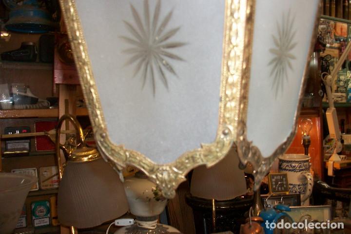 Antigüedades: ANTIGUA LAMPARA DE TECHO-BRONCE - Foto 5 - 163310385