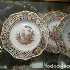 Antigüedades: VAJILLA DE POSTRE PORCELANA MEISSEN. Lote 74291695
