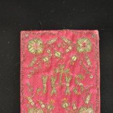 Antigüedades: BORDADO RELIGIOSO DEL XIX , JHS , 10 X 8 CM.. Lote 74319663