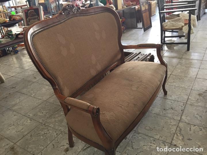 Antigüedades: Tresillo - Sofa estilo isabelino, 121cm de largo - Foto 2 - 74418851