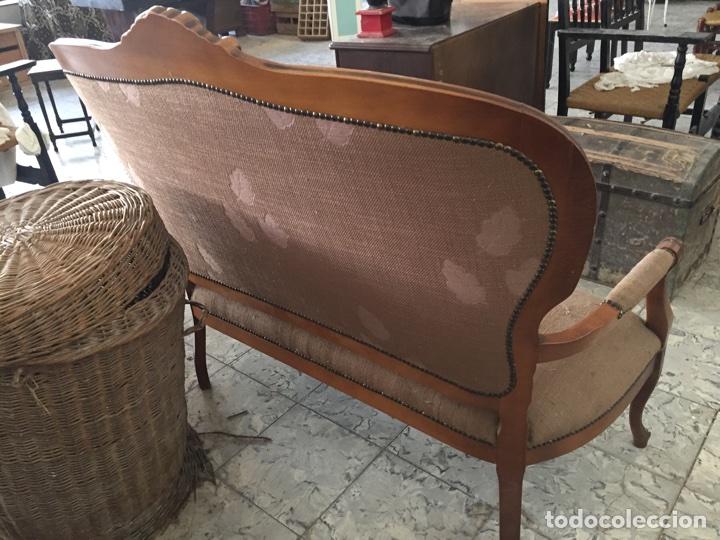Antigüedades: Tresillo - Sofa estilo isabelino, 121cm de largo - Foto 5 - 74418851