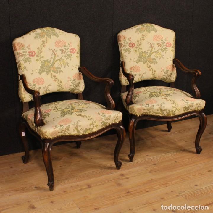 Par de sillones italiana tapizados en tela flor comprar - Sillones tapizados en tela ...