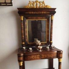 Antigüedades: CONSOLA CON ESPEJO (1835-40) DE CAOBA Y MARQUETERÍA DE LIMONCILLO.. Lote 74592947