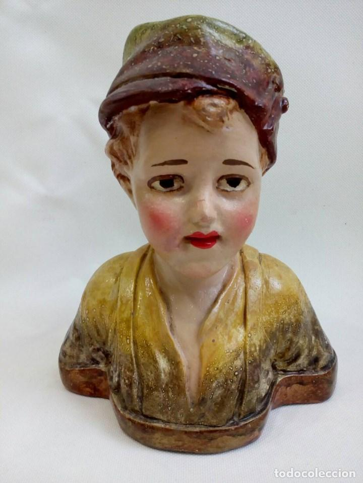 BUSTO NIÑO MODERNISTA, ART NOUVEAU, ART DECO, ESTUCO (Antigüedades - Hogar y Decoración - Figuras Antiguas)