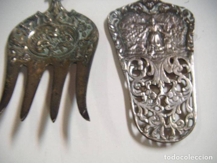 Antigüedades: CUBIERTOS DE SERVIR EN ALPACA CON FILIGRANA - Foto 2 - 74711107