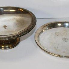 Antigüedades: CONJUNTO DE FRUTERO Y BANDEJA. METAL PLATEADO. TC. ESPAÑA. SIGLO XX.. Lote 74712443