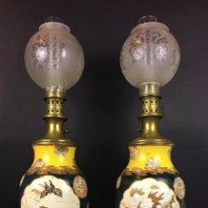 Antigüedades: PAREJA DE JARRONES SATSUMA-QUINQUÉ. ELECTRIFICADOS. FIRMADOS. JAPÓN. XIX. Lote 74804827