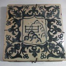 Antigüedades: FANTASTICO AZULEJO ESTILO GOTICO CATALAN EN TONO CASI NEGRO. Lote 74884171