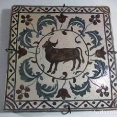 Antigüedades: ANTIGUO FANTASTICO AZULEJO VALENCIANO CON PRECIOSO MOTIVO CENTRAL. Lote 74885471