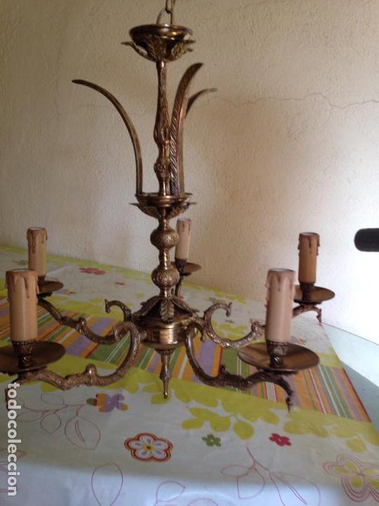 Antigüedades: Lampara de techo bronce - Foto 2 - 38187352