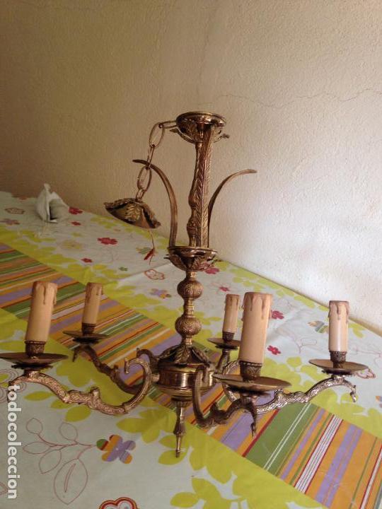 Antigüedades: Lampara de techo bronce - Foto 5 - 38187352