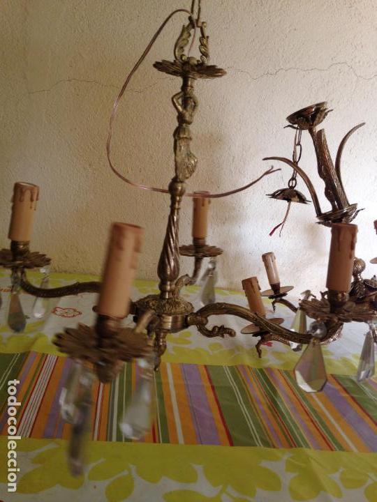 Antigüedades: Lampara de techo bronce - Foto 2 - 38187384