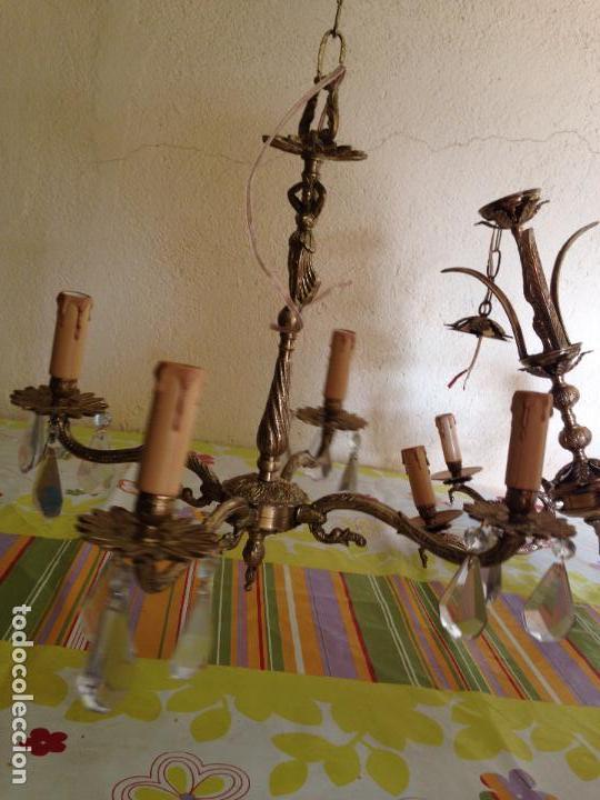 Antigüedades: Lampara de techo bronce - Foto 3 - 38187384