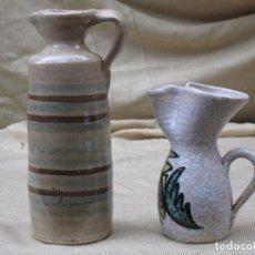 Antigüedades: LOTE DE DOS PIEZAS DE CERAMICA VIDRIADA. ACEITERA Y VINATERA.. Lote 75053147