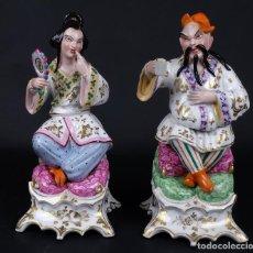 Antigüedades: PAREJA DE FIGURAS ORIENTALES EN PORCELANA VIEJO PARIS FRANCIA SIGLO XIX. Lote 75070335