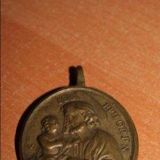 Antigüedades: MEDALLA BRONCE SIGLO XVII SAN JOSE IOS EPHORPN .S MARIA LAVRETAN ROMA . Lote 75093291
