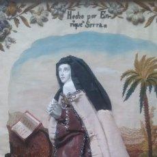 Antigüedades: PLAFON SANTA TERESA BORDADO EN SEDA MONJA ENRRIQUETA SERRA FINALES XIX SEVILLA. Lote 75127219