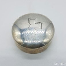 Antigüedades: CAJITA PASTILLERO EN PLATA DE LEY CONTRASTADA , CENTRO MEDICO TEKNON .. Lote 75130291