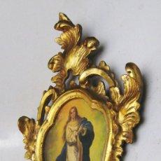 Antigüedades: PRECIOSO MARCO CORNUCOPIA MADERA AL ORO FINO ANTIGUO ORIGINAL CON IMAGEN VIRGEN IDEAL ESPEJO . Lote 75143827