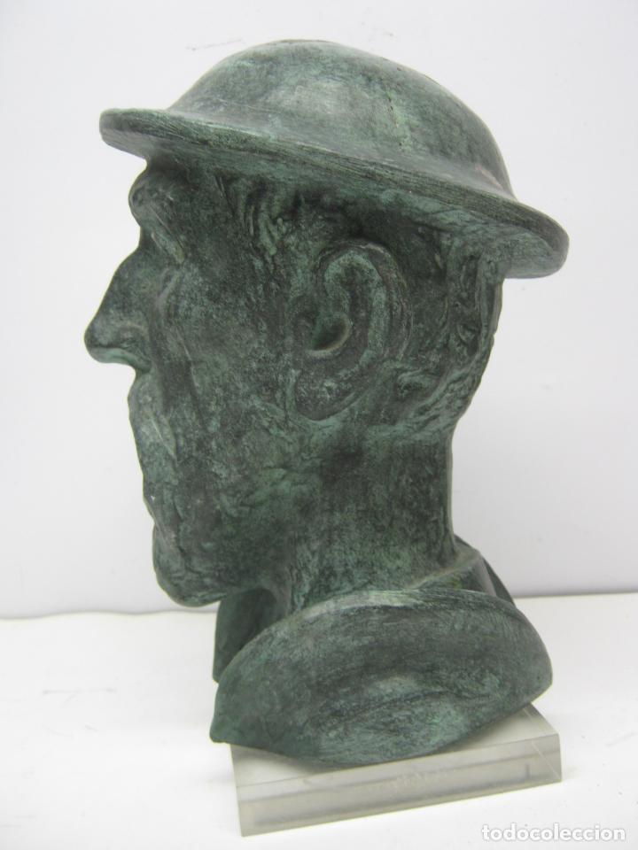 Antigüedades: Busto Don Quijote de la Mancha - ceramica sellada marcas - patina bronce - Miguel de Cervantes - Foto 3 - 75161911