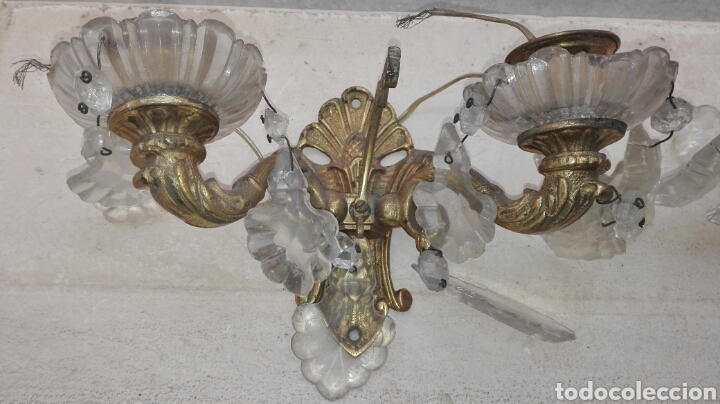 Antigüedades: Pareja de Apliques de Bronce con Cristales - Foto 2 - 75169302