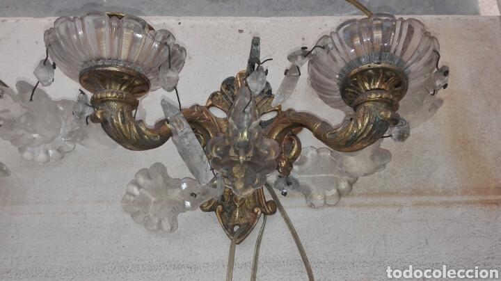 Antigüedades: Pareja de Apliques de Bronce con Cristales - Foto 3 - 75169302
