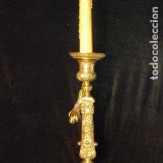 Antigüedades: CANDELABRO FRANCÉS LATÓN PLATEADO SIGLO XIX. Lote 75203459