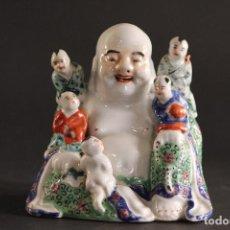 Antigüedades: RARO BUDA CHINO CHINA PORCELANA SIGLO XIX MARCADO. Lote 75226427