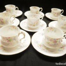 Antigüedades: 8 TAZAS Y PLATOS DE CAFE DE PORCELANA DE LIMOGES. Lote 75240747