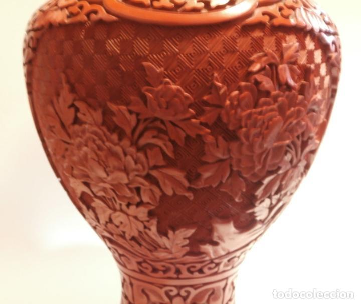 Antigüedades: Gran jarron de LACA CINABRIO 38ctms. - Foto 2 - 75273815